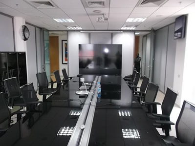 A 2 by 2 Video Wall in a conference room setting