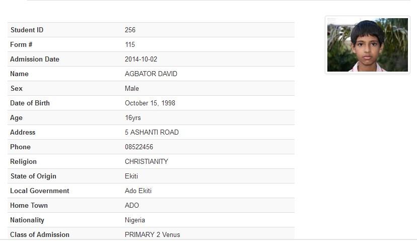 Picture 3: Screen Capture of Student Biodata